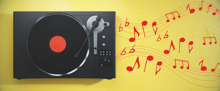Vintage vinyl turntable with vinyl plate on a yellow background with notes. Music concept. 3D Rendering