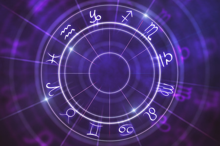 Abstract purple zodiac wheel background. Cyberspace concept. 3D Rendering Stock fotó - 102902969