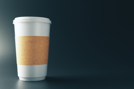 Empty label paper coffee cup on dark background. Advertisement and take away food cafe concept. Mock up, 3D Rendering