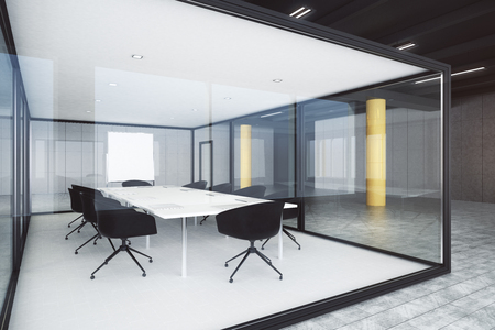 Modern glass conference room interior. Design and style concept. 3D Rendering  Stock Photo