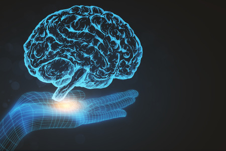Digital hand with brain on dark backdrop. Artificial intelligence concept. 3D Rendering