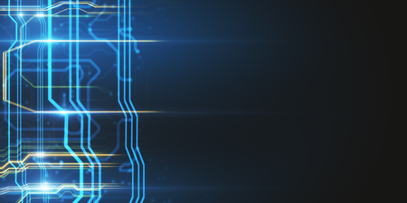 Creative blurry colorful circuit wallpaper. Technology concept. 3D Rendering