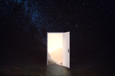 Open door on abstract starry sky background. Future and dream concept. 3D Rendering Archivio Fotografico
