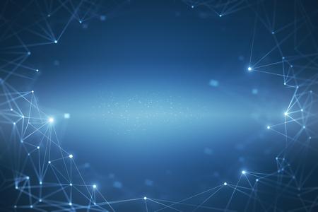 Kreativer leuchtender blauer polygonaler Hintergrund. Wissenschafts- und Technologiekonzept. 3D-Rendering Standard-Bild