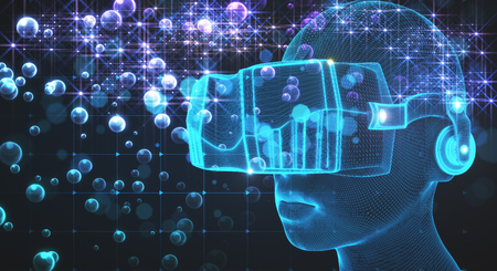 VR and data concept. Abstract Virtual Reality glasses on blurry background. 3D Rendering
