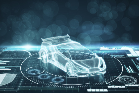 Creative digital car interface background. Artificial intelligence, transport and hologram concept. 3D Rendering
