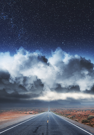 Road on landscape and cloudy starry sky background. Way to success concept