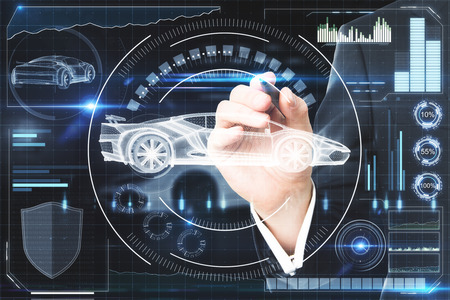 Hand using creative digital car interface background. Artificial intelligence, transport and future concept. 3D Rendering Фото со стока