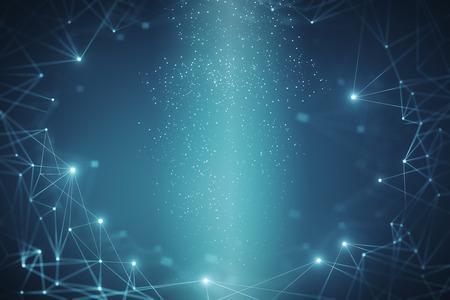 Papel pintado poligonal azul brillante creativo. Concepto de ciencia y tecnología. Representación 3D Foto de archivo