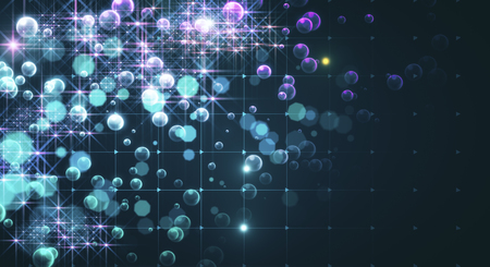 Abstract glowing blurry bubbles background. 3D Rendering
