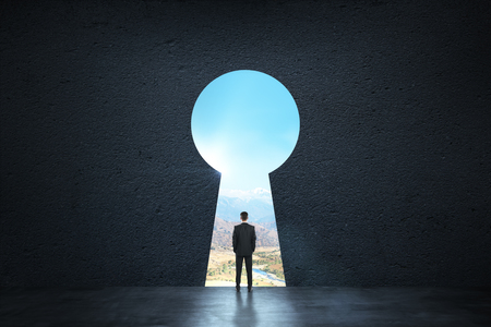 Back view of young businessman standing against keyhole door. Dream, success, opportunity and future concept Stock Photo