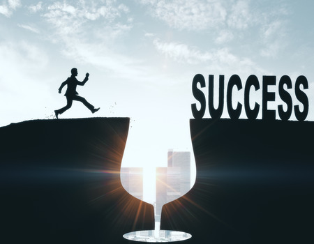 Abstract backlit image of young businessman overcoming alcohol gap on the way to success with sunlight. Leadership and success concept. 3D Rendering