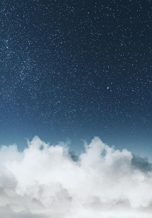 Creative clouds and starry sky backdrop. Creative wallpaper