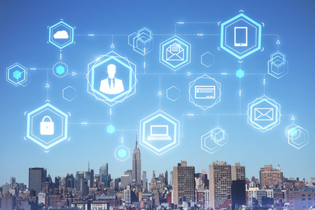Digital business interface on blue sky city background. Future and blockchain concept. Double exposure