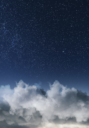 Creative clouds and starry sky background. Creative wallpaper Stock Photo