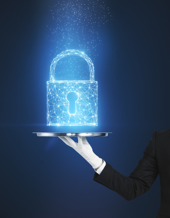 Hand holding creative glowing digital padlock on blue background. Web safety and crime concept. 3D Rendering Stock Photo