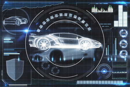 Creative digital car interface background. Artificial intelligence, transport and hud concept. 3D Rendering Stock fotó - 103539248