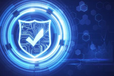 Fondo antivirus digital brillante creativo. Concepto de protección y seguridad web. Representación 3D