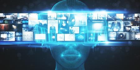 VR en simulatieconcept. Abstracte Virtual Reality-bril op onscherpe achtergrond. 3D-weergave Stockfoto