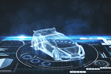 Creative digital car interface background. Artificial intelligence, transport and projection concept. 3D Rendering Foto de archivo - 103539268