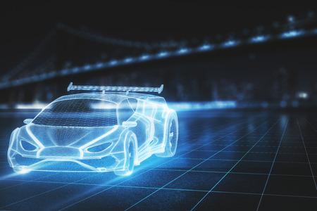Modello di auto sportiva incandescente creativa su sfondo sfocato della città. Tecnologia, design e concetto di trasporto. Rendering 3D
