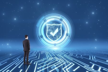 Thoughtful young busiessman on creative glowing circuit antivirus background. Cyberspace and safety concept. 3D Rendering Stock Photo