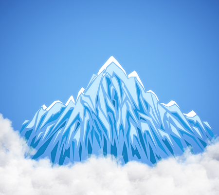 Creative digital mountain in clouds. Blue background. Art concept. 3D Rendering
