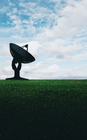 Backlit satellite plate on nature background. Broadcasting and information concept Stock Photo