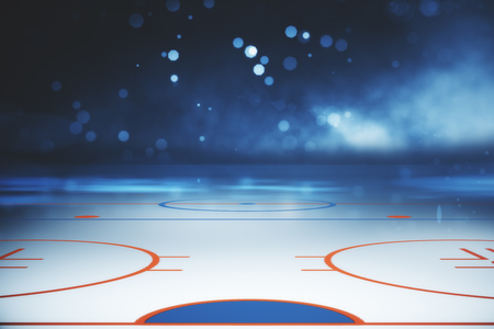 Abstract illuminated hockey field backdrop. Sports concept. 3D Rendering Banco de Imagens