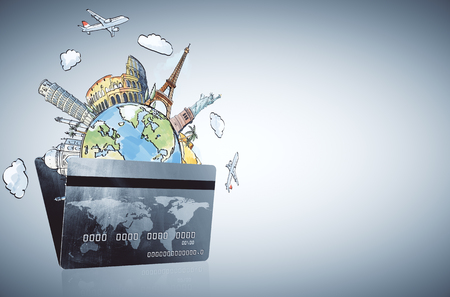 Abstract bank card and travel sketch. Traveling, vacation, tourism, banking and purchase concept. 3D Rendering Stock fotó
