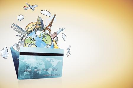 Carta di credito astratta e schizzo di viaggio. Viaggi, vacanze, turismo, banche e concetto di affari. Rendering 3D Archivio Fotografico