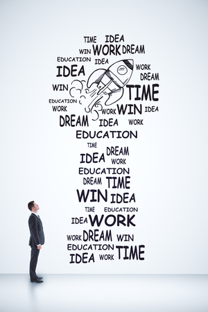 start up concept with businessman looking on words and rocket on white wall. 3D render