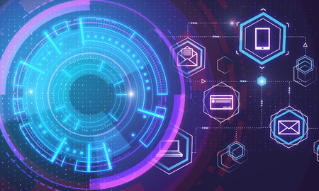 digital blockchain interface with cyber protection button concept at abstract technology background. 3D render Stockfoto