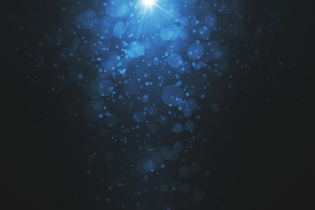 abstract blue bubbles background with spot of bright light. 3D render