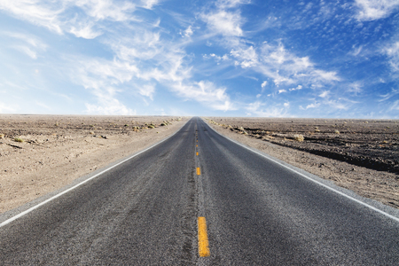search the road concept with empty road in desert and blue sky. 3D render