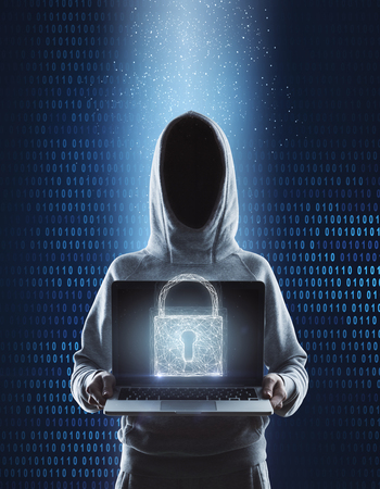 3d illustration of no face hacker with laptop computer protected by combination lock at blue binary code backgroound. 3D render