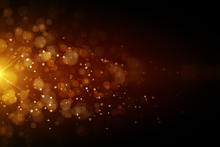 abstract orange bubbles background with spot of bright light. 3D render