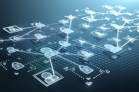 digital cyberspace icons on binary code background. 3D render Foto de archivo - 104100884