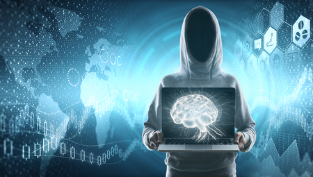 cybercrime, hacking and technology crime. no face hacker at financial chart and social media icons background holding laptop with brain 3d illustration. 3D render Reklamní fotografie