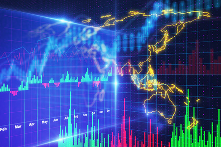 digital cyberspace financial chart and world map