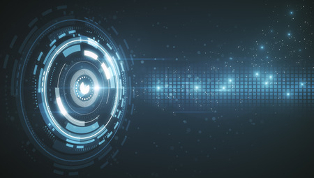 cyberbezpieczeństwo z cyfrowym przyciskiem i obwodem w abstrakcyjnym tle technologii. Renderowanie 3D Zdjęcie Seryjne