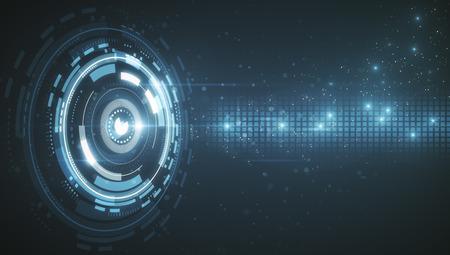 sicurezza informatica con pulsante digitale e circuito a sfondo tecnologia astratta. Rendering 3D Archivio Fotografico