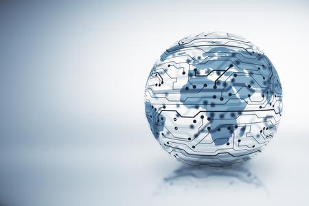 IKT-, Informations- und Kommunikationstechnologiekonzept mit Globus-Layout und Mikroschaltung. 3D-Rendering