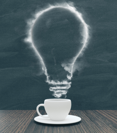 coffee makes the idea concept with smoky light bulb in white cup on wooden table. 3D rendering Banco de Imagens