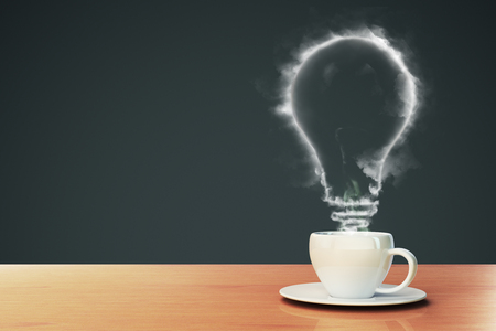 coffee makes the idea concept with smoky light bulb in white cup on light wood table. 3D rendering