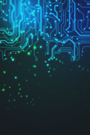 abstract hardware background with luminious microcircuit at dark background. 3D rendering