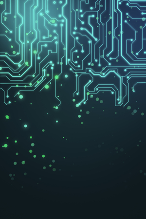 abstract hardware background with blue microcircuit and dots at dark background. 3D rendering