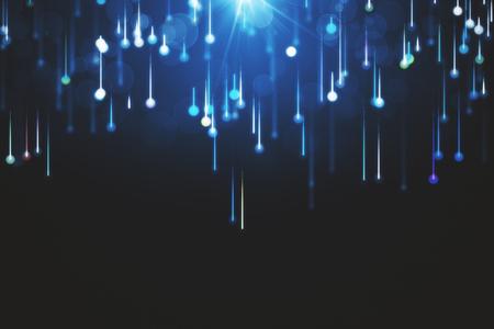 lijnen samengesteld uit gloeiende achtergronden, abstracte donkere achtergrond. 3D-weergave Stockfoto