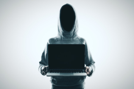 hacker no face with laptop with balck blank screen at white background. 3D render
