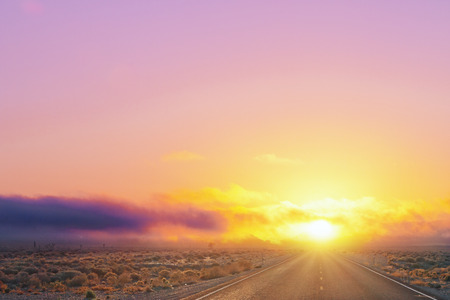 desert sunset with bright color gradients and asphalt road. 3d rendering 写真素材
